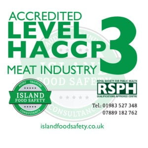 Level 3 Award in Understanding how to Develop a HACCP Plan for the meat industry course Newport Isle of Wight 10 March 2020